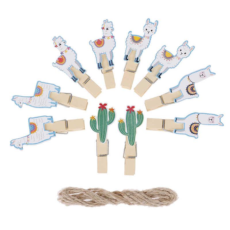 10 個ラマサボテン木製クリップ写真用紙洗濯ばさみクラフトクリップ熱帯アルパカパーティーホームデコレーションクリップ麻ロープ