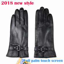 2018 New Sheepskin Gloves Womens Touch Screen Wear Beak Style Thin Velour Lining Autumn Warm Lady Leather