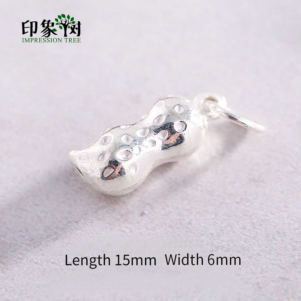 2 Sterling Silver Peanut Beads 3D 925 Silver for Bracelet Spacers