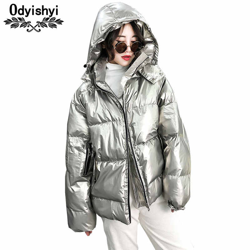 eaa43685c6e Fashion Metallic Silver Glossy Jackets Women 2019 Winter Warm Down Cotton Coat  Hooded Parka Solid Color