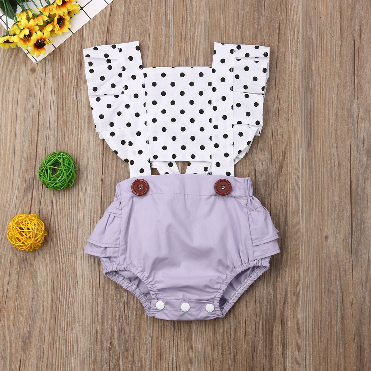 Adorable Newborn Baby Girl Polka Dot   Romper   Sleeveless Backless Hollow Out Jumpsuit Outfit Clothes 0-24 Months