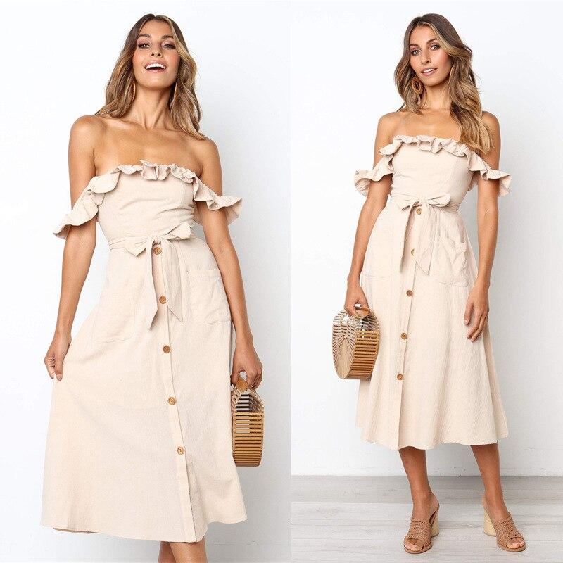Backless Sexy Women Summer Dress 19 Ruffles Off Shoulder Beach Dress Buttons Strapless Long Sundress Boho Midi Dress Ladies 37