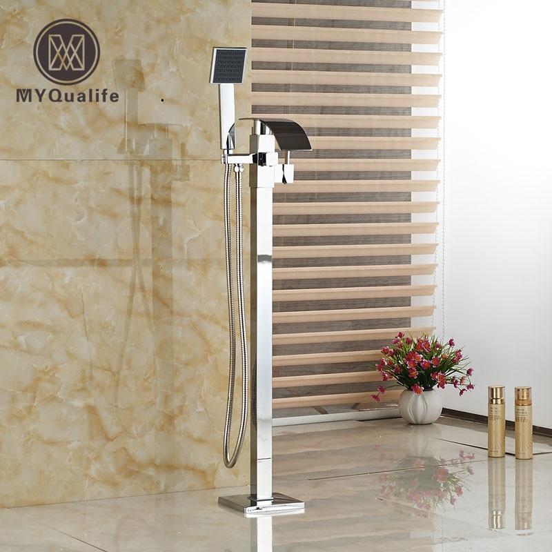 ᓂSola manija de baño de pie bañera cascada grifo mezclador de