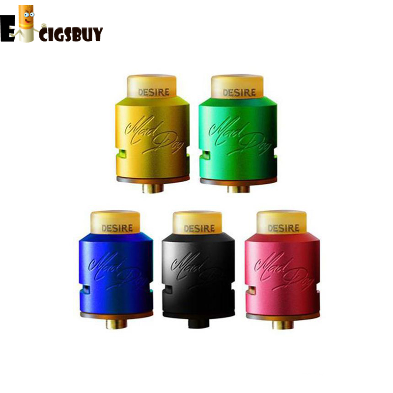Mad Dog RDA Atomizer with PEI Drip Tips Electronic Cigarette 6 Colors Mad Dog 24MM fit