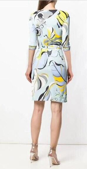 Di nuovo Modo 2018 Del Progettista Del Vestito delle Donne 3/4 Maniche fiori di Stampa XXL Elasticizzato Jersey di Seta Sottile Abito Da Giorno-in Abiti da Abbigliamento da donna su  Gruppo 2