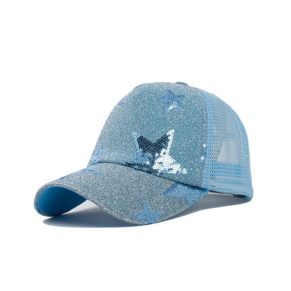 Composite Bats Summer Women Five-pointed Star Pattern BLING Mesh Baseball Cap