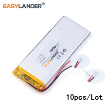 10pcs /Lot 3.7v lithium Li ion polymer rechargeable battery 2.54 1000mAh 353080 3.7V polymer battery car phone smart home
