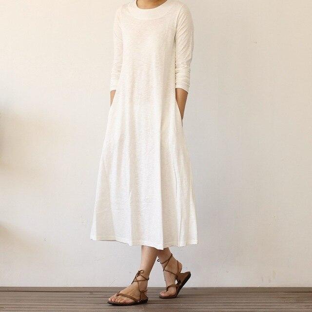 Weibes basic kleid langarm