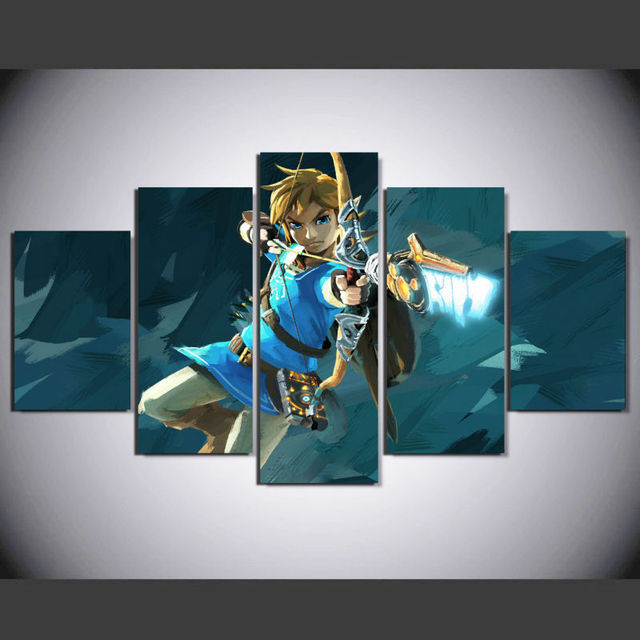5 Pieces Game The Legend Of Zelda: Breath Of The Wild Home Wall Decor Canvas