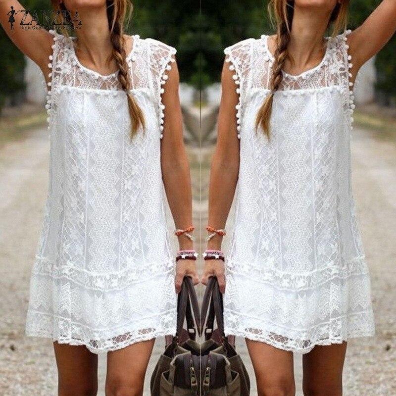 ZANZEA Vestidos 2018 Summer Elegant Women Casual Solid Short Sleeve Slim Lace Mini Dress Tops Ladies Sexy White Dress Plus Size 2