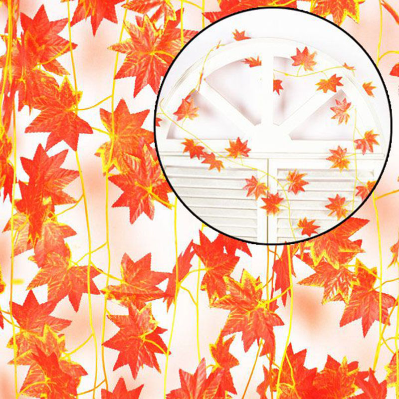 Image 3 - Hot Selling!! 2.3m Windowill Autumn Leaves Garland Maple Leaf Vine Fake Foliage home garden Decoration-in Party DIY Decorations from Home & Garden