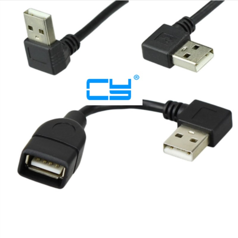 10cm 20cm USB 2.0 A Male To Female 90 Angled Extension Adaptor Cable USB2.0 Male To Female Right/left/down/up Black Cable Cord