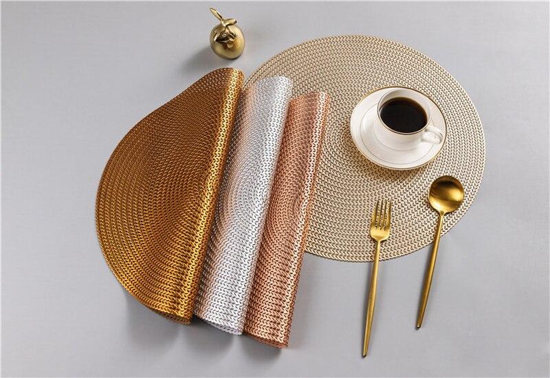 38CM Hotel Restaurant Round PVC Placemat Nordic Anti-scalding Insulation Table Mat Steak Pad (12)