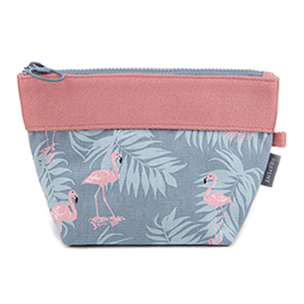 2017 New Women Storage Bag Canvas Flowers Leaves Flamingos Printed Coin Purse Lady Clutch Bag Sewing Kit Girl Makeup Bags LXX9