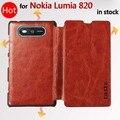 ¡ Caliente! lujo de cuero genuino flip case para nokia lumia 820 n820 mobile phone cases cubierta para nokia 820 + envío libre
