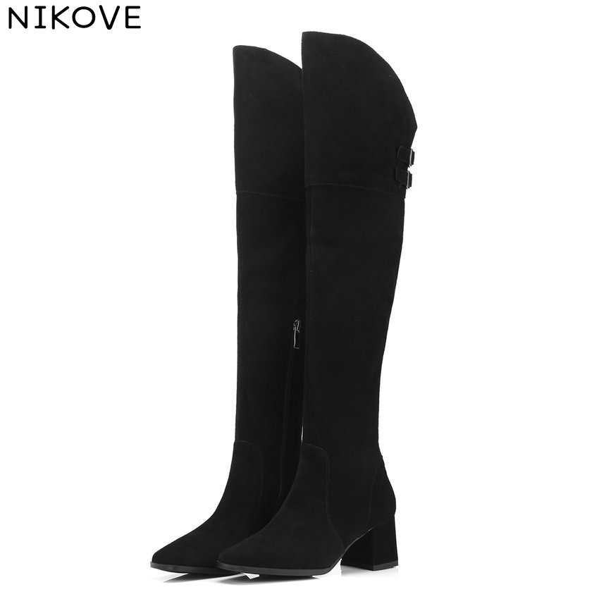 NIKOVE 2019 Women Over The Knee High Boots  Cow Suede Fashion Winter Boots Fashion Zipper Pointed Toe Shoes Size 34-39NIKOVE 2019 Women Over The Knee High Boots  Cow Suede Fashion Winter Boots Fashion Zipper Pointed Toe Shoes Size 34-39