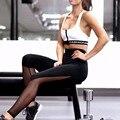 2016 Nuevas mujeres de la Llegada Polainas de Fitness De Alta Cintura Elástico Del Verano de Malla Patchwork Casual Leggings Para Mujeres Pantalones