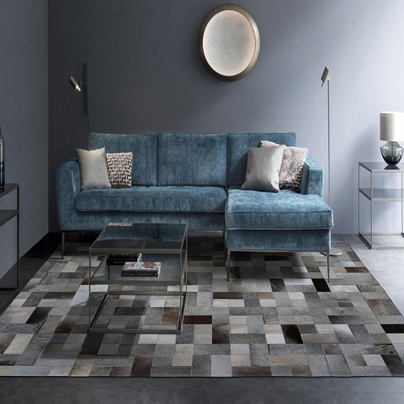 Tapis de travail de patch de fourrure de peau de vache naturelle de style simple nordique, véritable tapis de plaid gris de fourrure pour le tapis de décoration de salon