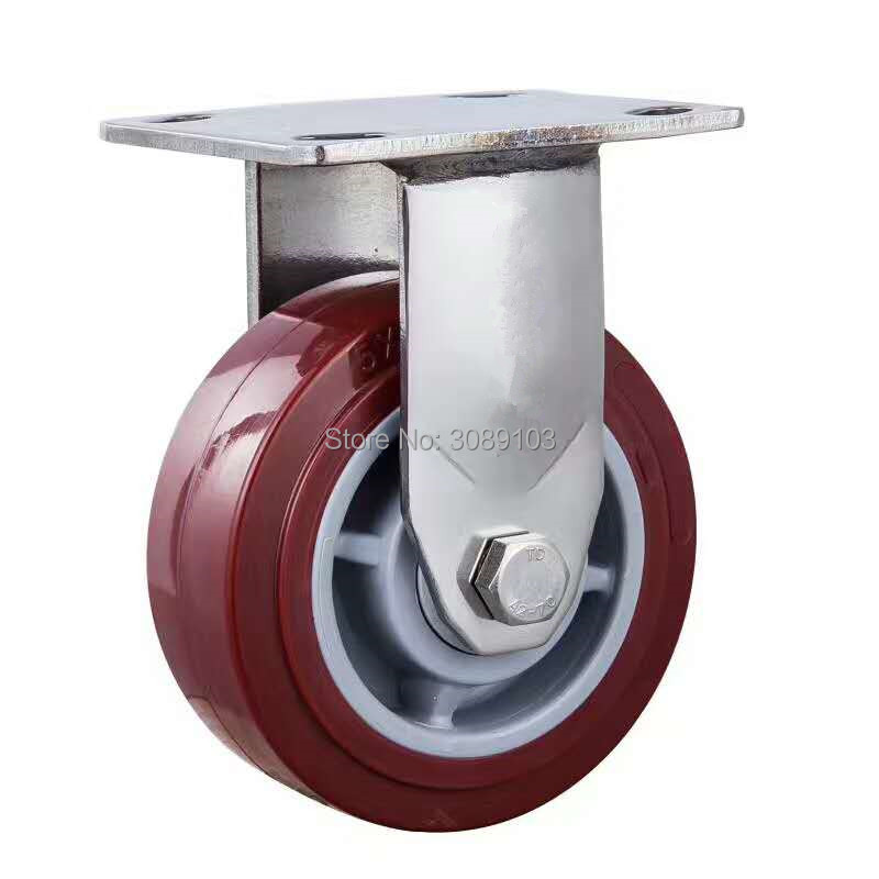 Hot Made in China Industrial heavy duty red PU caster 8 inch swivel caster with stainless steel fixed caster 1 pcs plastic swivel 5 inch light duty pu caster directional lock medical caster
