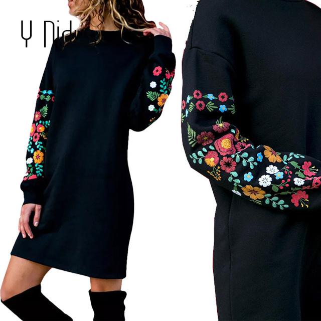 Elegant Floral Print Long Sleeve O-Neck Loose Dress