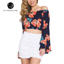 Off Shoulder Floral Print 2016 Sexy Salsh Neck Women Crop Tops Blouses Long Flared Sleeve Autumn Shirts Short Beach Party Blusas