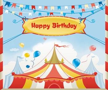 Feliz cumpleaños, circo, globos de cinta, fotografía, Fondo de fotografía, fiesta, decoración de pared, telón de fondo, W-287