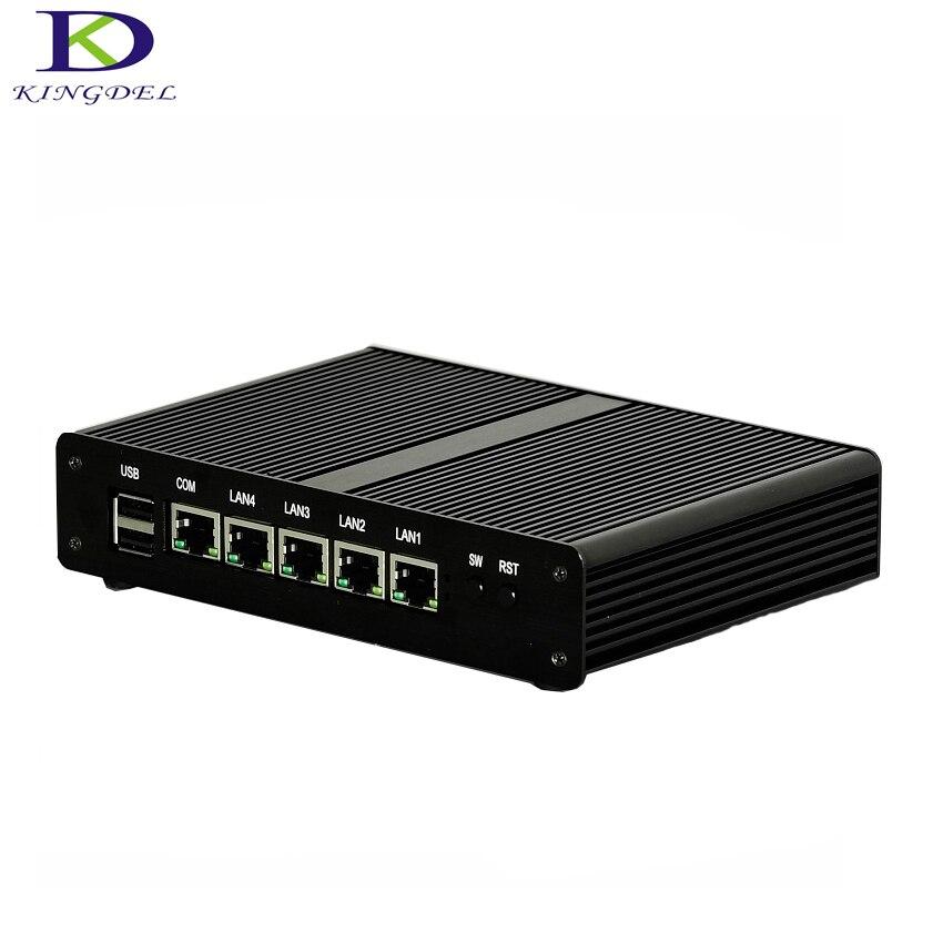 Kingdel plus récent Celeron J1900 Quad Core Mini PC 4 GB RAM 128 GB SSD mini ordinateur de bureau 4 LAN TV BOX sans ventilateur PC routeur