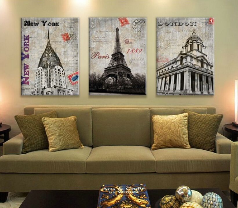 Set Of 3 Pieces Home Decor Wall Canvas Painting London