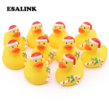 10pcs rubber green Christmas style ducks baby bath water toy bathroom swimming water floating children's gift collection toys beiens water baby floating toy bath toys for children bathroom toy new year gift