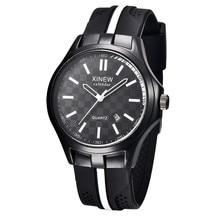 Reloj 2017 New Design Bestselling Vogue Males Date Black Silicone Rubber Band Quartz Analog Sport Wrist Watch 17feb10