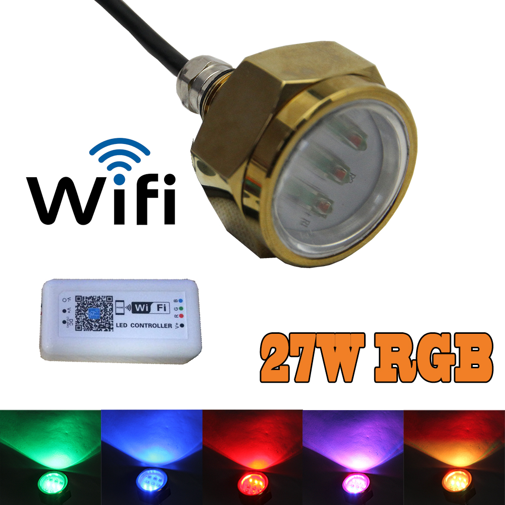 Blue Red 9*3W/27W Cree chip Led Multi-color RGB Boat Drain Plug Light Wifi Control Underwater Marine fishing Yatch Light IP68 photography backdrops 2015 new hot seal offer photo vinyl old master backgrounds computer paint 10ftx15ft foldable