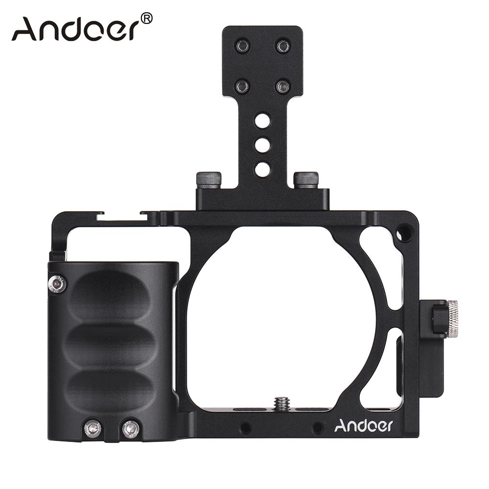 Andoer Protective Camera Cage with Hand Grip and Top Handle Kit for Sony A6000 A6300 A6500