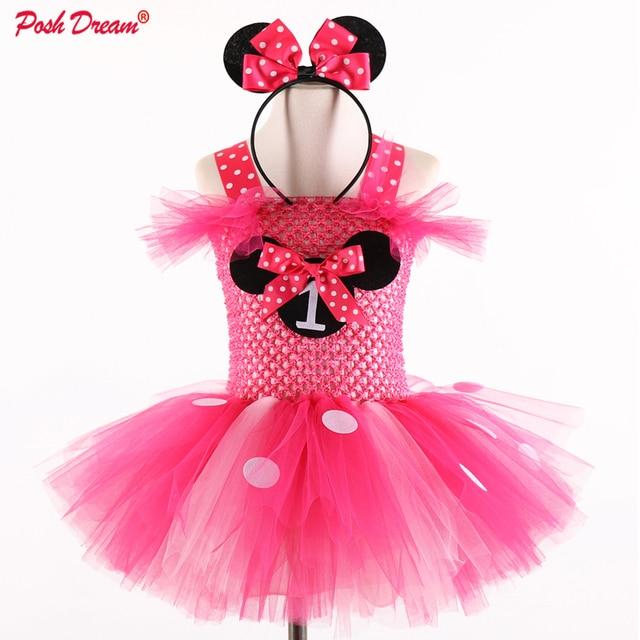 8be038557cdba US $19.52 37% OFF|POSH DREAM Minnie Cartoon Girls Cosplay Tutu Dress with  Headband 1st Birthday Mouse Halloween Children Party Costume Cute Dress-in  ...