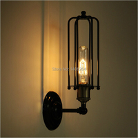 Loft Retro Vintage Edison Industrial Mini Cage Wall light(Including  bulb) Cafe Bar Coffee Shop Store Hall Club Lamp|wall light|caged wall lightretro vintage wall lamp -