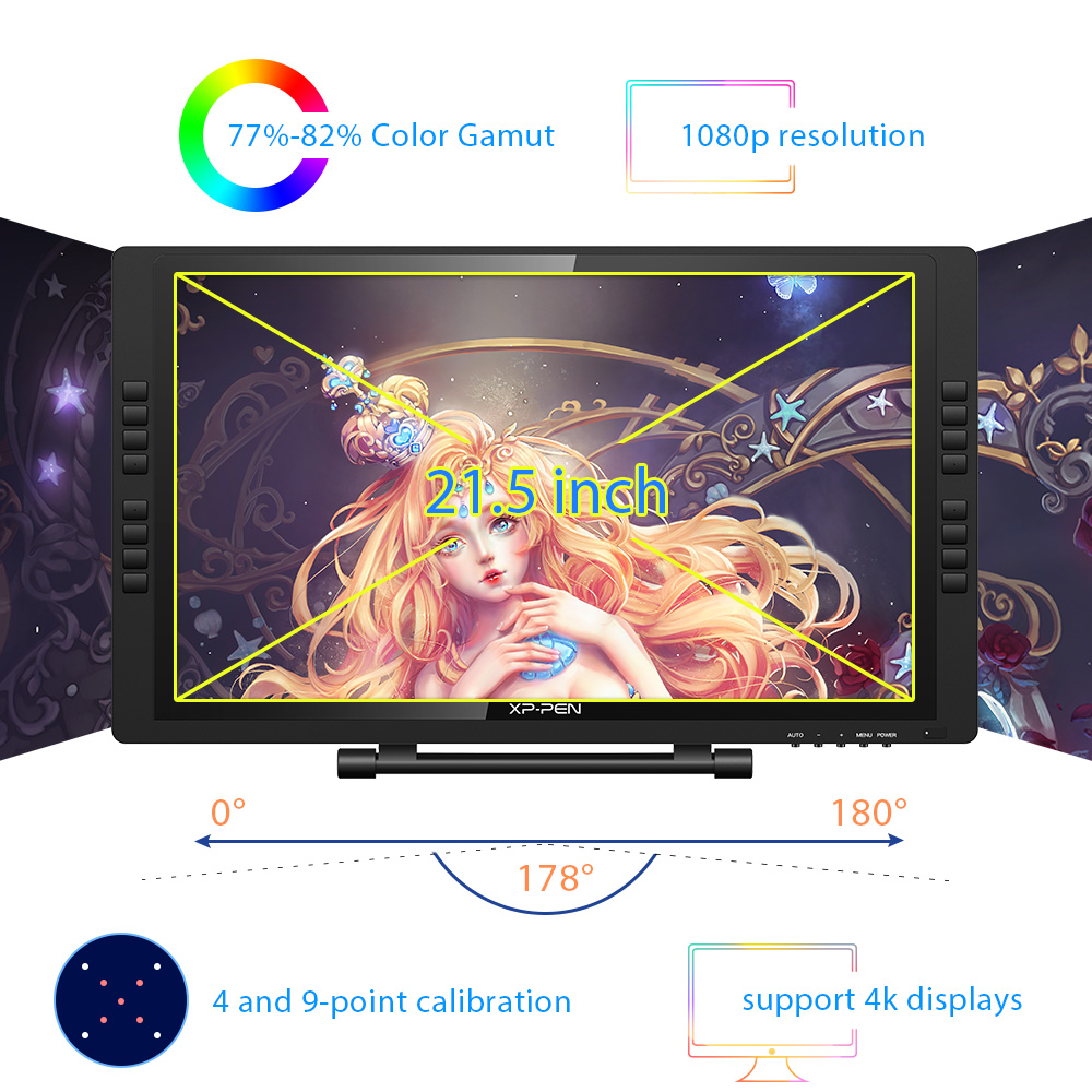 XP-Pen 22E Pro 1080P HD IPS Drawing tablet Graphic Tablet Display Monitor Graphics with 16 Express Keys Supports 4K Displays 2