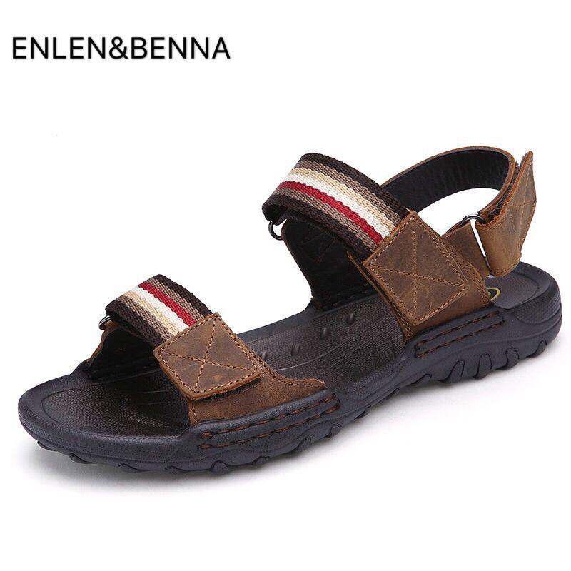 Pluss suurus 45 ehtne nahast meeste sandaalid Peep toe suvel meeste kingad sussid Uus 2017 disainer isane Sandalias rand kingad sandaalid