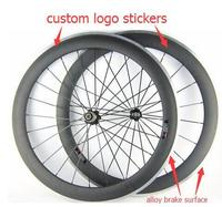 Width 23mm 700c Carbon Clincher Road Bike Wheel 60mm Alloy Brake Surface Paint Custom Logo Sticker