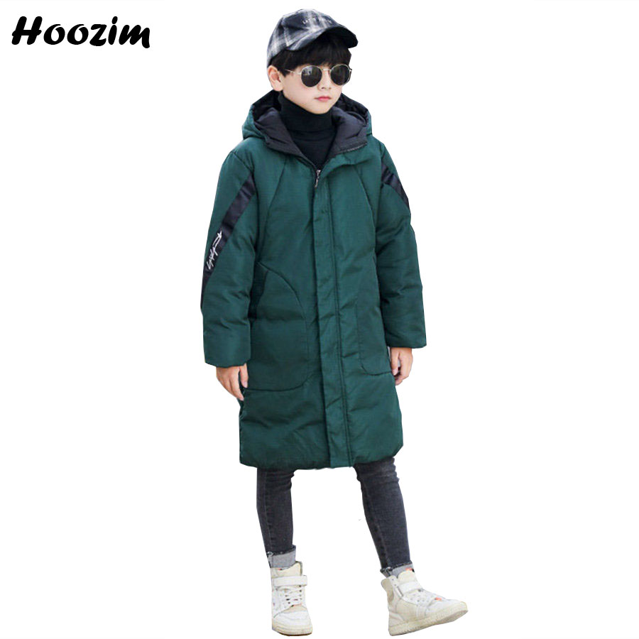 Winter Green Long Jacket For Boys Fashion Red Thick Warm Hooded Parka Children European Ribbon Insert Sleeve Jacket For Girls