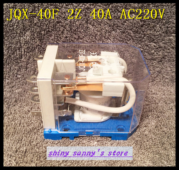 1Piece JQX-40F 2Z 40A  AC 220V Coil PCB Power Relay Brand New 1piece jqx 62f 1z 120a ac220v coil high power relay brand new
