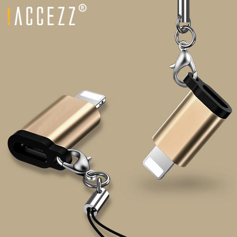 !ACCEZZ 4PC Mini OTG Micro USB To Lighting For IPhone 6 8 7 X MAX XS Charger Adapter Charging Data Sync With Key Chain Converter