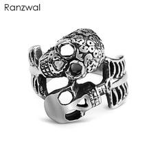 Ranzwal Punk Rock Stainless Steel Skull Skeleton Rings for Men Biker Finger Ring Jewelry US SIZE 7~14 MRI084