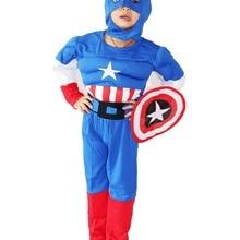 Вечерние костюмы Королевского синего цвета для детей от 3 до 7 лет, костюм на Хеллоуин из комиксов Marvel Одежда для мальчиков: капюшон+ щит+ пояс