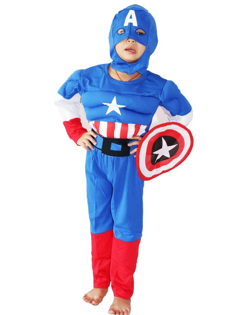 royalblue 3-7years Party Kids Comic Marvel Captain America Muscle Halloween Costume,boy roll play clothing :hood + shield +Belt