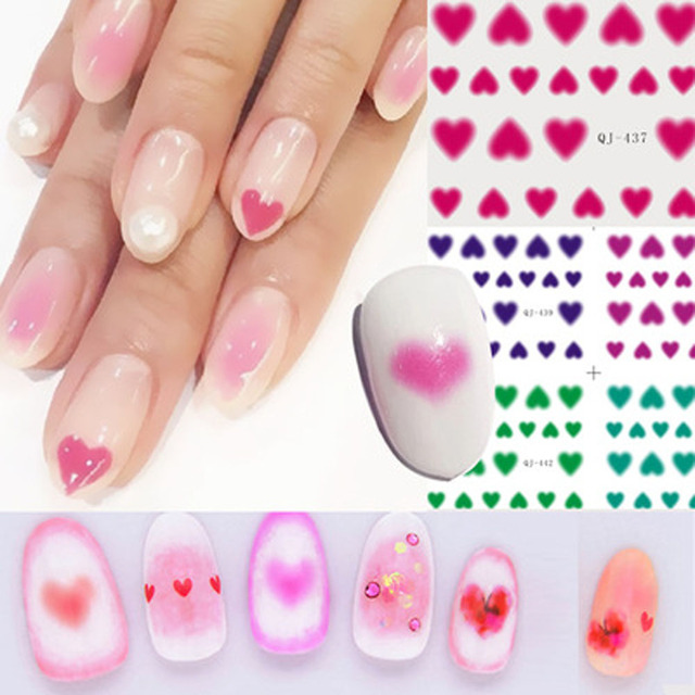 Nail Gel 6PC New Pro 3D Cute Nail Art Stickers Love Heart Rouge ...