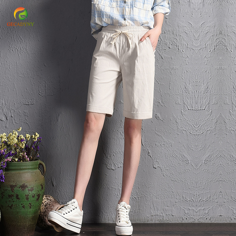 2018 summer girls new casual solid   shorts   loose   shorts   wide leg   shorts   women Cotton and linen 4-colors plus size S-3XL
