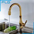 Luxury Gold Pull Down Kitchen Faucet Wholesale New Solid Brass Swivel Pull Out Spray Gooseneck Sink Mixer Tap FLG20025G