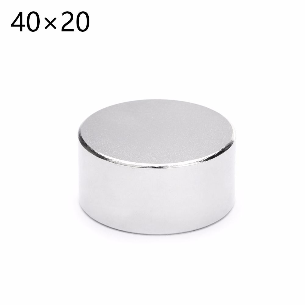 2pcs hot sale 40x20 mm Round strong powerful Neodymium Permanent Magnet N35 magnetic 40*20mm