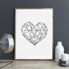 Love Heart Print Canvas Art Poster,  Geometric Art, Wall Prints, Nursery Office Home Decor, Frame Not included