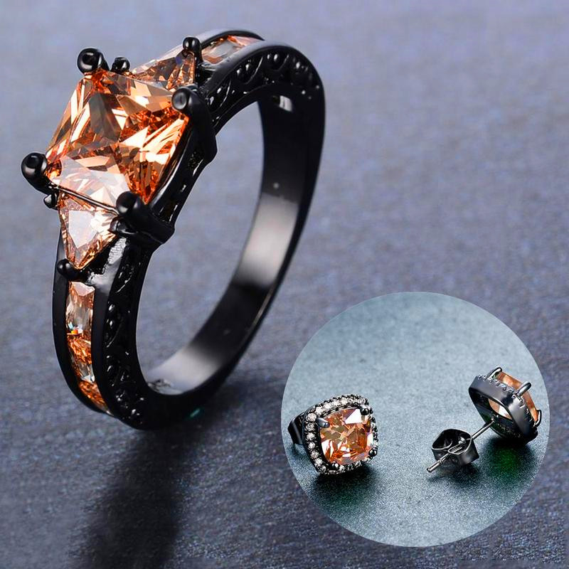 JUNXIN Champagne Crystal Square Stud Earrings And Ring Jewelry Sets Black Gold Ring Princess Zircon Bridal Vintage Wedding Set