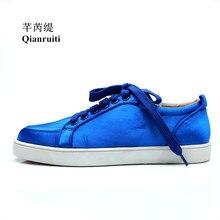 Qianruiti 2018 Autumn Royal Blue Men Satin Silk Sneaker Lace-up Flat Low Top Shoes Men Runway Chaussures Hommes Plus Size 39-47